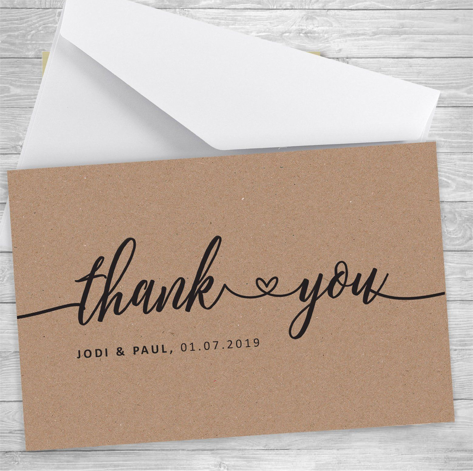 Rustic Wedding Thank You Card Kraft Thank You Card Thank You