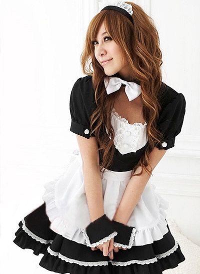Women French Maid Outfit Waitress Fancy Dress Ruffle Costume Lolita