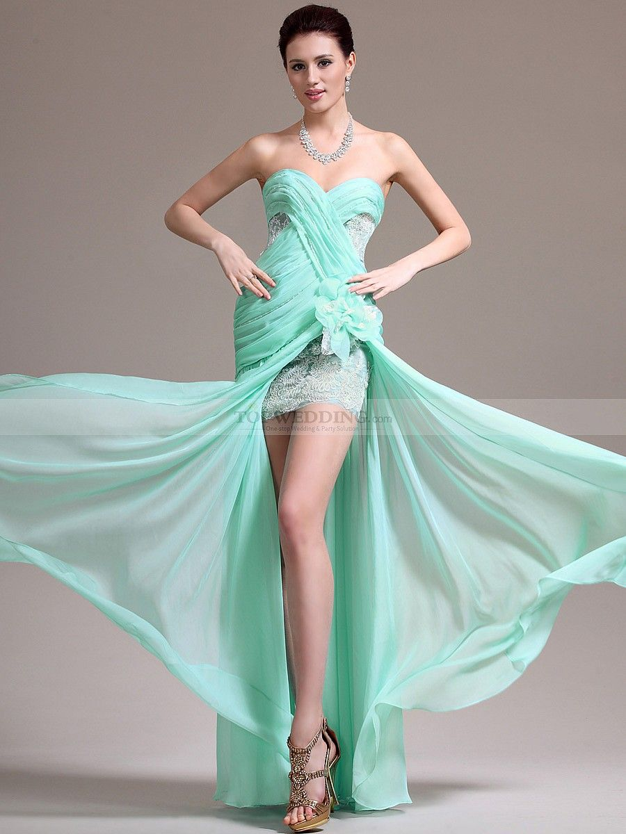 Strapless Lace and Chiffon Prom Dress with Mini Skirt and Sheer ...