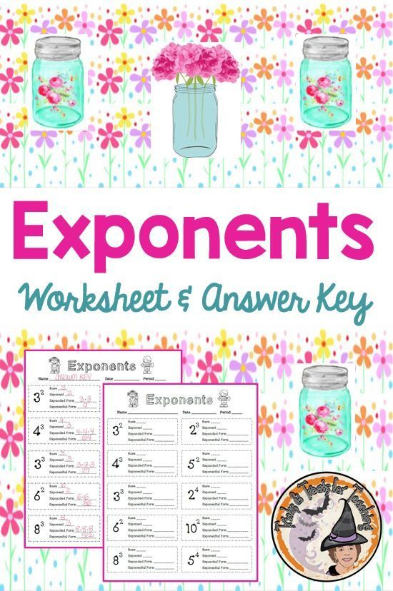 Exponents Worksheet with Answer KEY Expanded Form