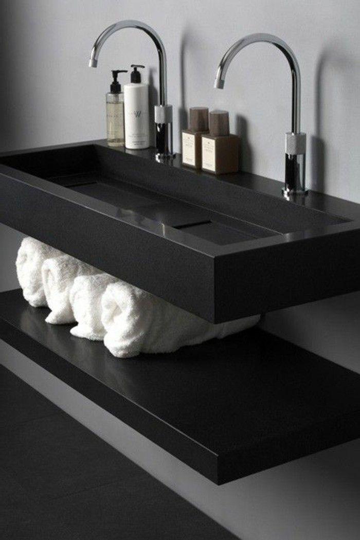 vasque noire pour sale de bains moderne salon maisontravaux paris 2017