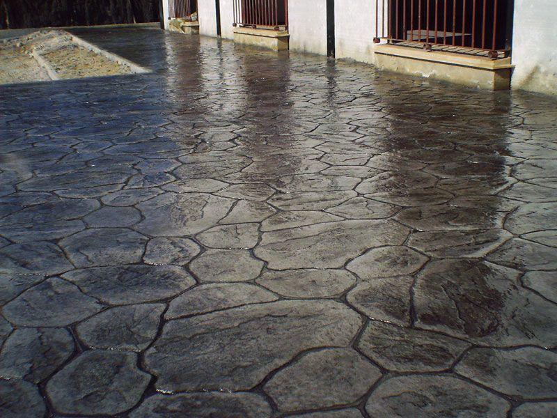 Hormig n exterior estampado con moldes forma stamped - Cemento pulido para suelos ...