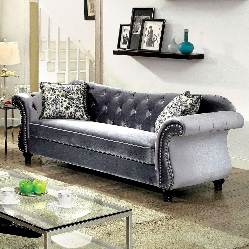 Awesome Furniture Of America Dessie Traditional Tufted Sofa Creativecarmelina Interior Chair Design Creativecarmelinacom