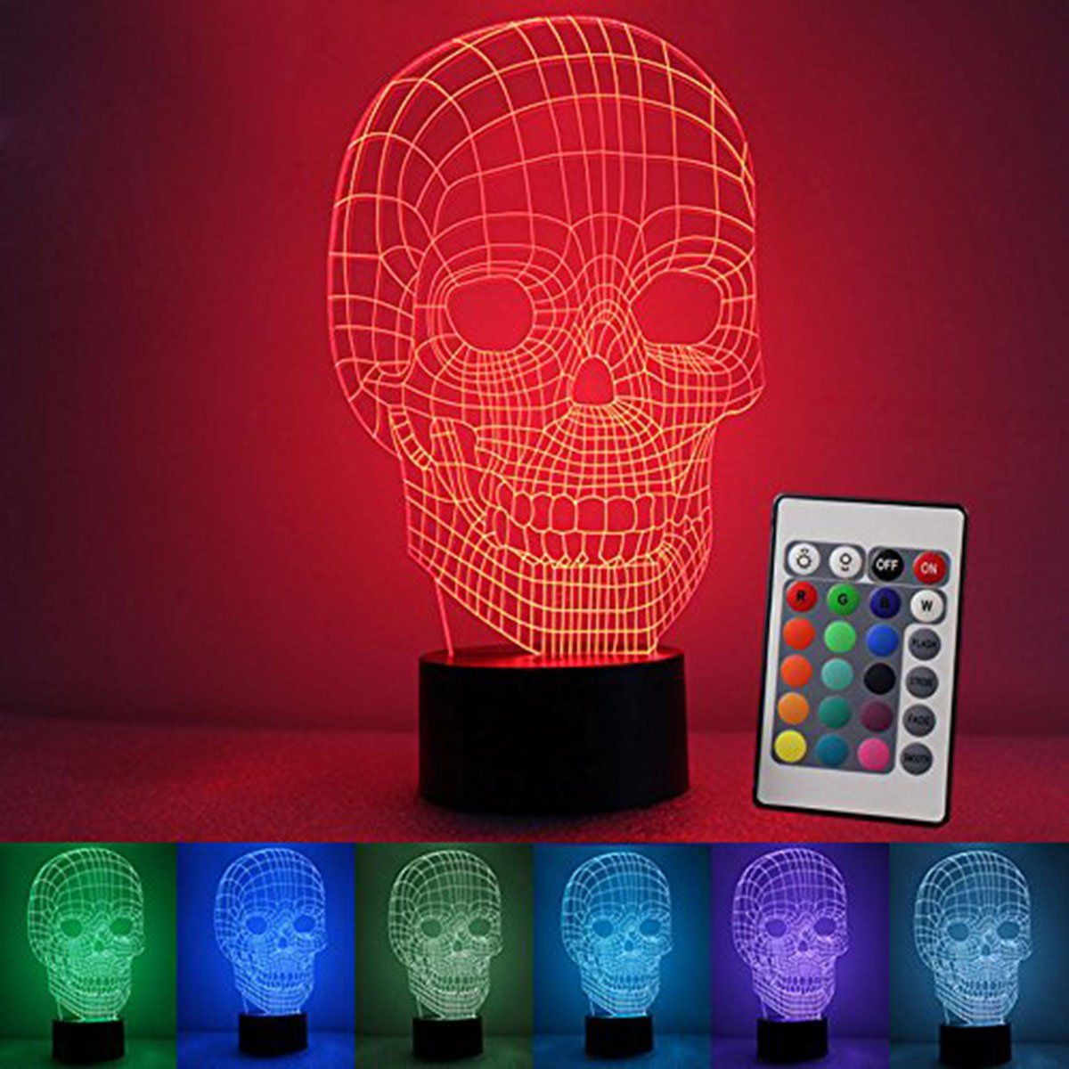 Night Light 7 Colors Changing Skull Led Lamp Bulbing Touch Switch Table Lights Acrylic Illusion Desk For Halloween Gifts