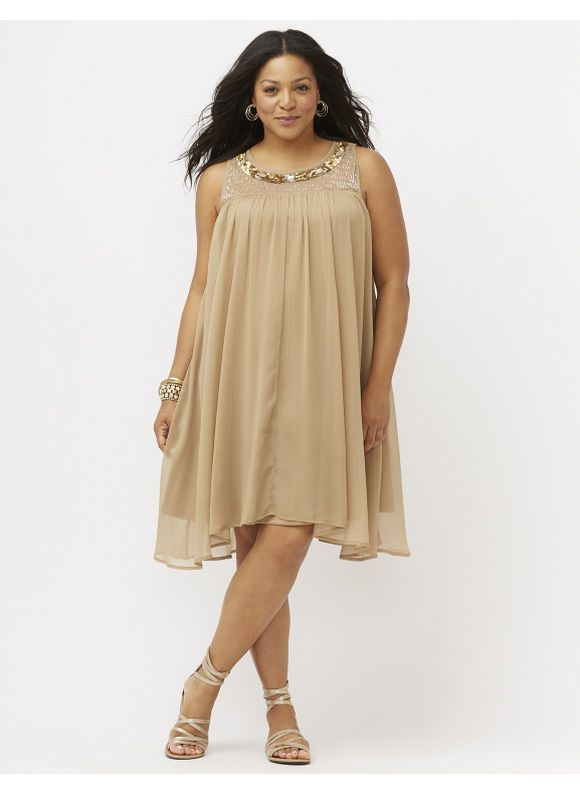Embellished swing dress Women's Size 14/16, brown Dresses Crinkled Chiffon Swing Dress Puts Some Sparkle In Your Step With Sequins, Beads And More! Simply Stunning For That Evening Out Or Special Occasion, With Sheer Shoulders For Added Coverage Without Losing Any Sass. Fully Lined. - See more at: http://darim24.com/plus-size-embellished-swing-dresswomens-size-1416-brown-p606768