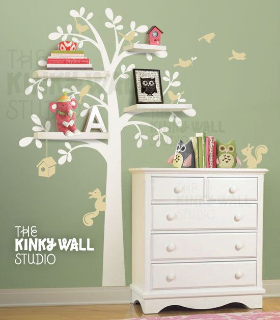 Delightful NEW Shelving Tree With Birds U0026 Squirrels   Vinyl Wall Sticker Wall Decal      Children Baby Kid Nursery Boy Girl. I Could Just Paint It On The Wall  Myself. Part 15