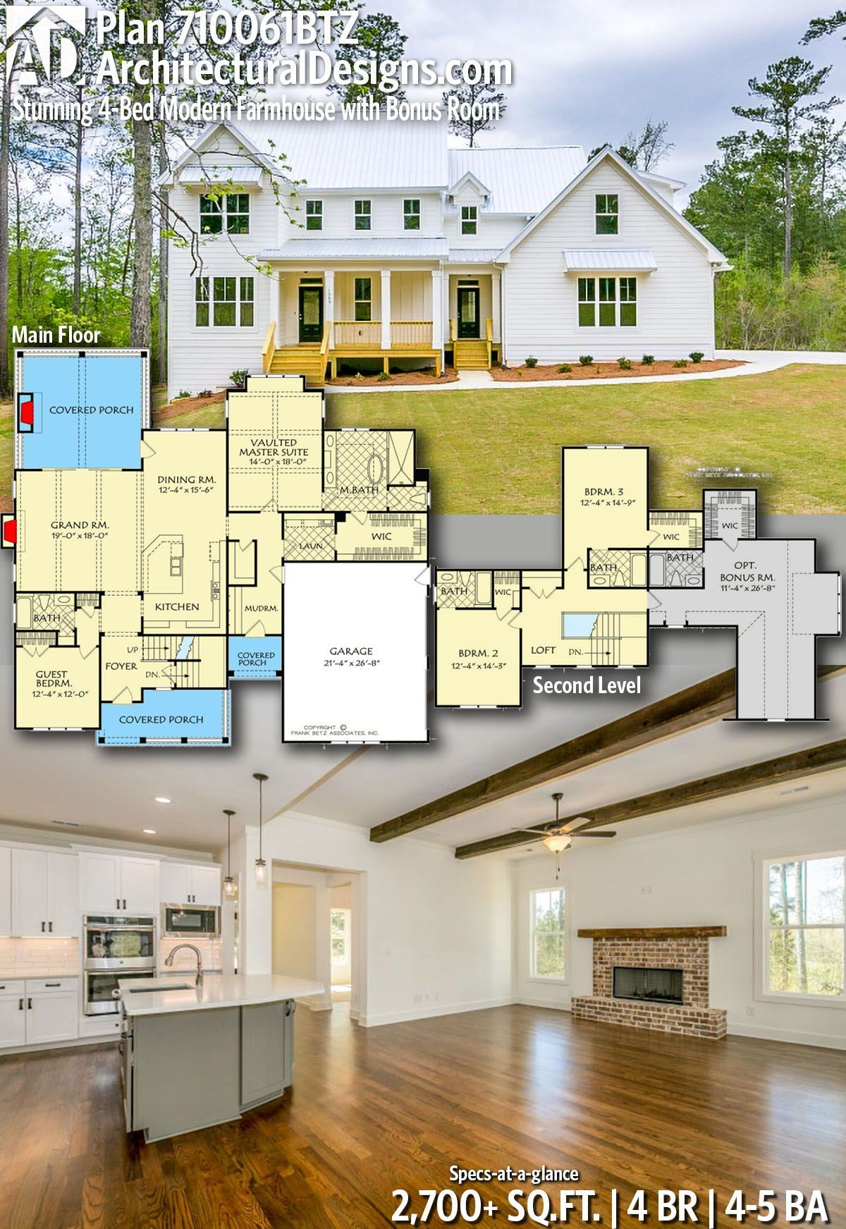 Plan 710061btz Stunning 4 Bed Modern Farmhouse With Bonus Room House Plans Farmhouse Dream House Plans Farmhouse Plans