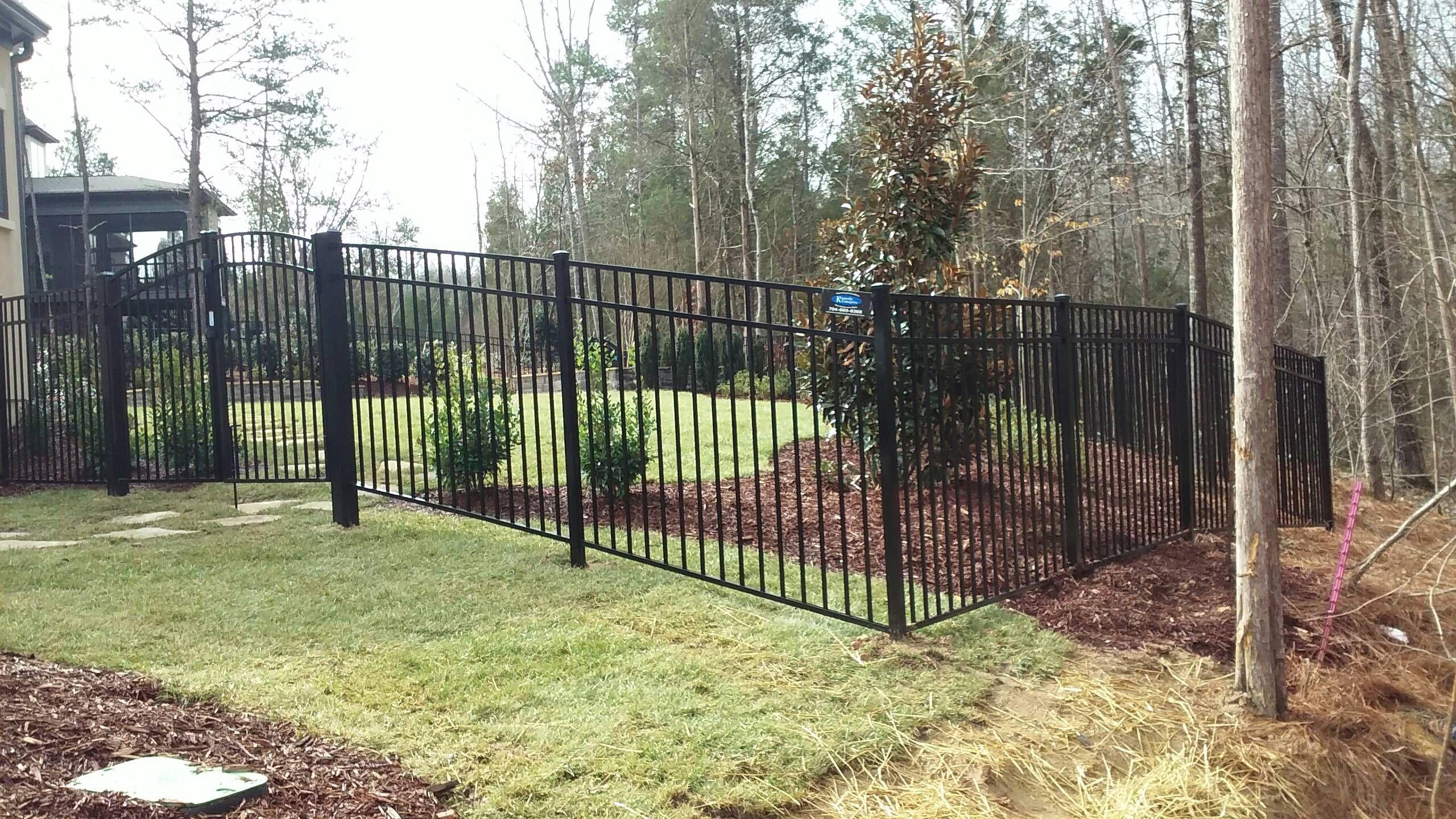 Blue Ridge Style Aluminum Fence with Rainbow Arch