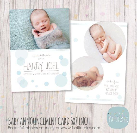 Newborn Birth Announcement Baby Boy Card Photoshop Card Template An005 Insta Birth Announcement Boy Newborn Birth Announcements Baby Announcement Cards