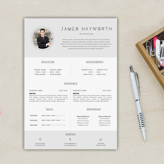 Modern A4 + Us Letter Resume Template + Free Cover Letter + - resume 1 page