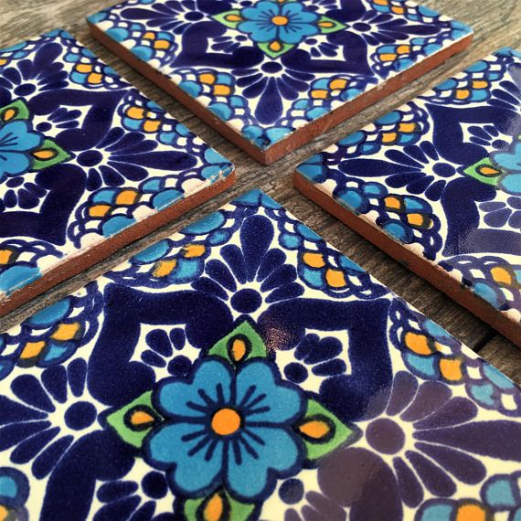 Mexican Tiles Have Been Lovingly Turned Into A Beautiful Set Of Coasters For Your Home