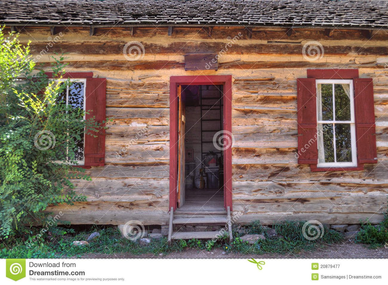 Rustic Old Time Log Cabin Front Door And Windows
