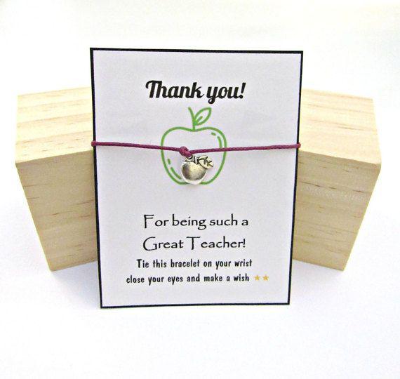 Teacher Appreciation Gift Teacher Wish Bracelet Apple Bracelet Teacher Gifts End of Year Teacher Gift Teacher Thank You Gift