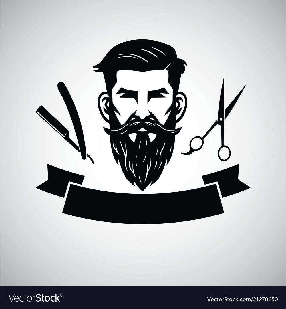 Barbershop Logo Template With Hipster Head Vector Image On Vectorstock Barbershop Design Barber Logo Barber Shop