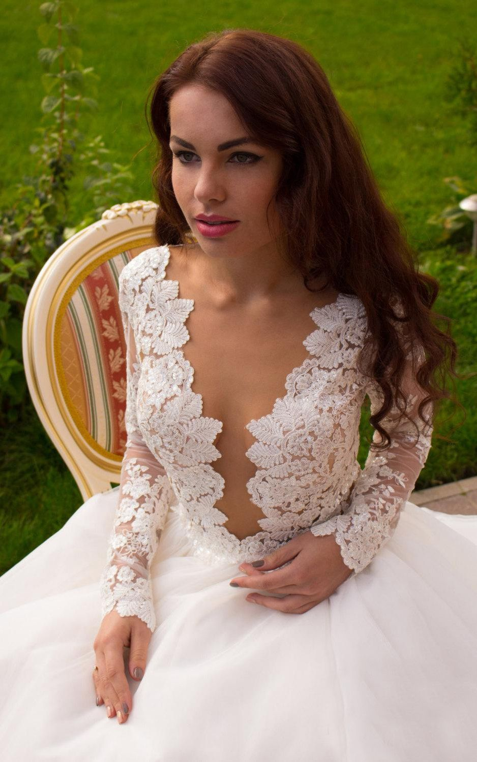 Free shipping sexy long sleeve plunging neck lace and tulle