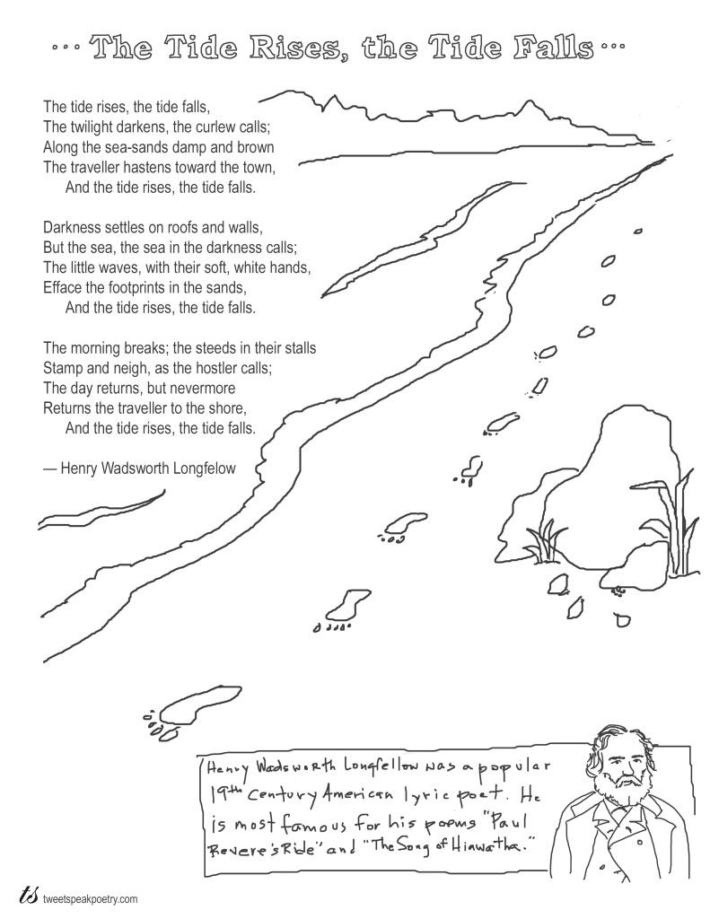 Workbooks walk two moons worksheets : Coloring Page Poems: The Tide Rises, the Tide Falls by Henry ...