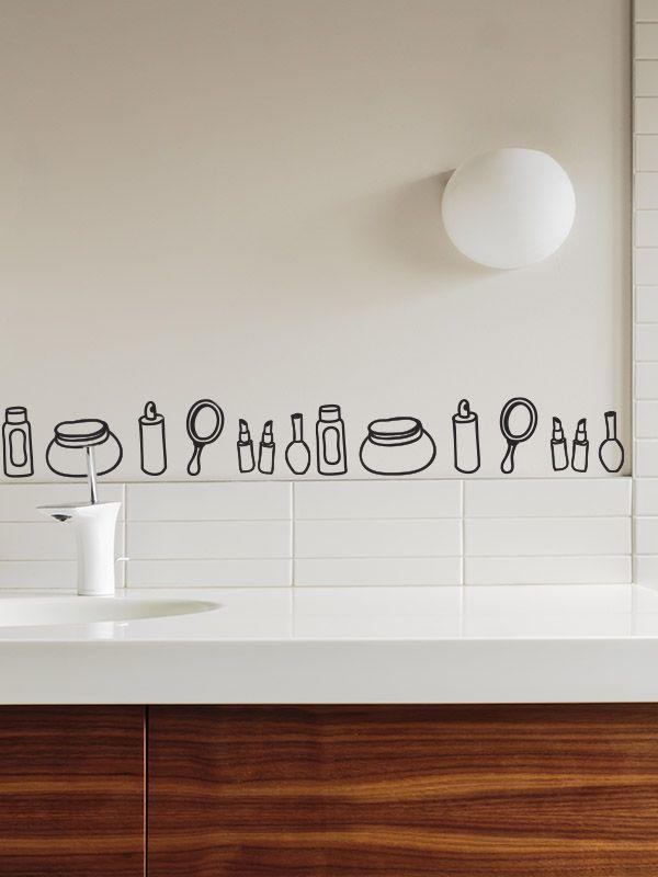 Cenefa de Vinilo accesorios baño, anima el cuarto de baño de forma ...