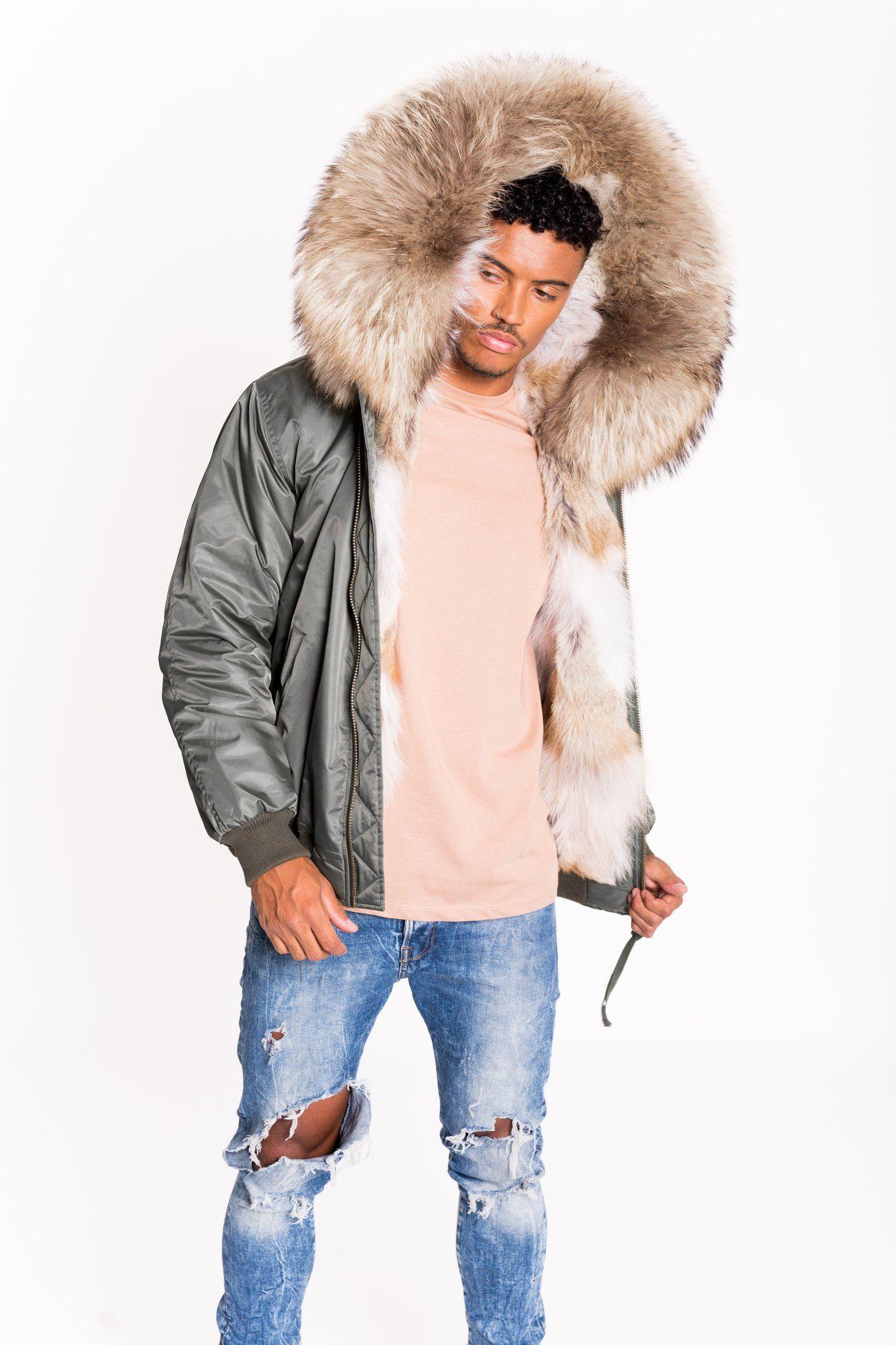 Arctic Lux Bomber Green Natural Men S Mens Fur Coat Leather Jacket Men Mens Fur [ 2048 x 1365 Pixel ]