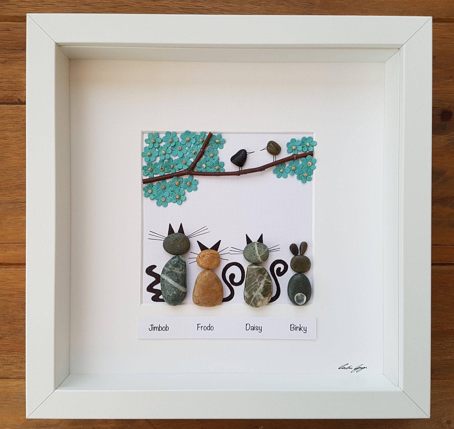 Cadeau de jour de mères de chat d'art de caillou pour le