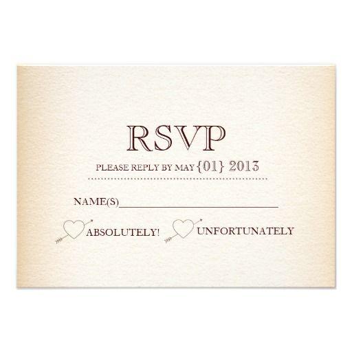 Rustic Heart Arrow Wedding RSVP Card