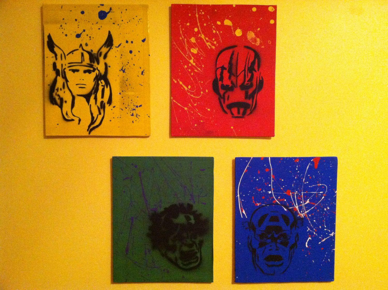 Avengers Hand Painted Mixed Media Wall Art ----Canvas Panels. $11.99 ...