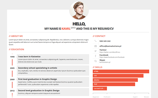 Pessoal  Modern Resume Theme  Modern Resume Fonts And Template