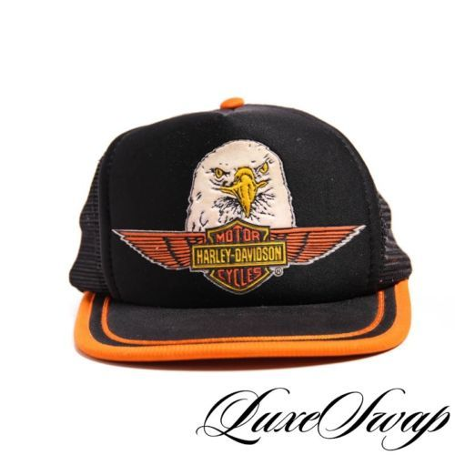 Vintage VTG 80s 90s LNWOT Harley Davidson Eagle Logo Mesh Trucker Hat Cap  RARE d26436818373