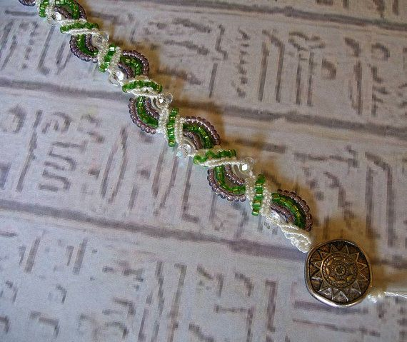 Micro macrame emerald and amethyst by SeaGlassJewelryEtsy on Etsy
