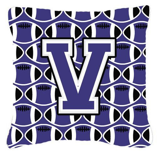 Letter V Football Purple and White Fabric Decorative Pillow CJ1068-VPW1414
