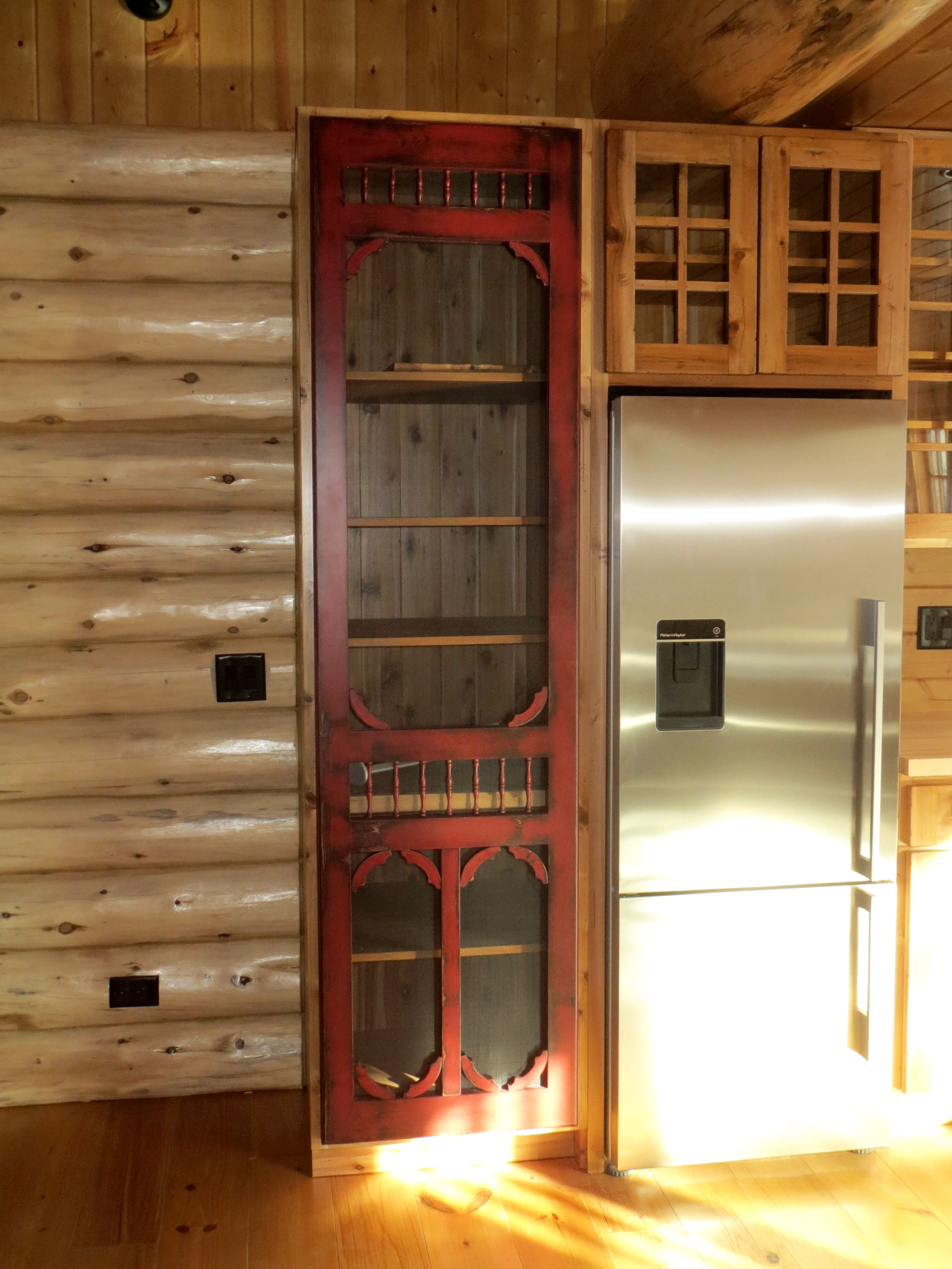 Red Distressed Victorian Style Screen Door For Pantry