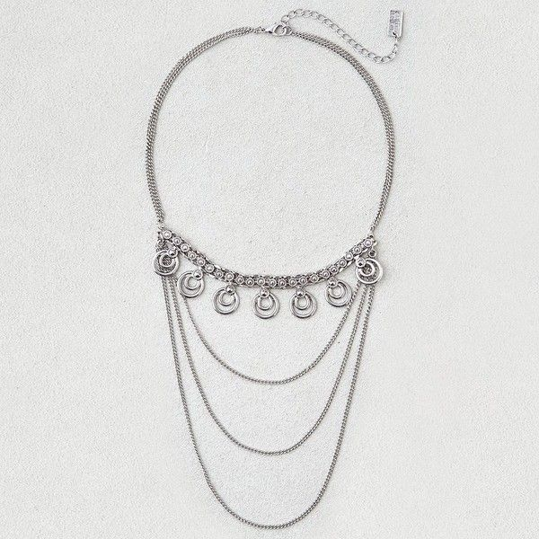 AE Pendant Layered Necklace ($13) ❤ liked on Polyvore featuring jewelry, necklaces, metallic, steel necklace, pendant jewelry, pendant necklaces, steel pendant and double layer pendant necklace