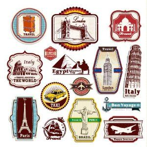 15 Retro Vintage Travel Suitcase Stickers - Regular | Purity ball ...