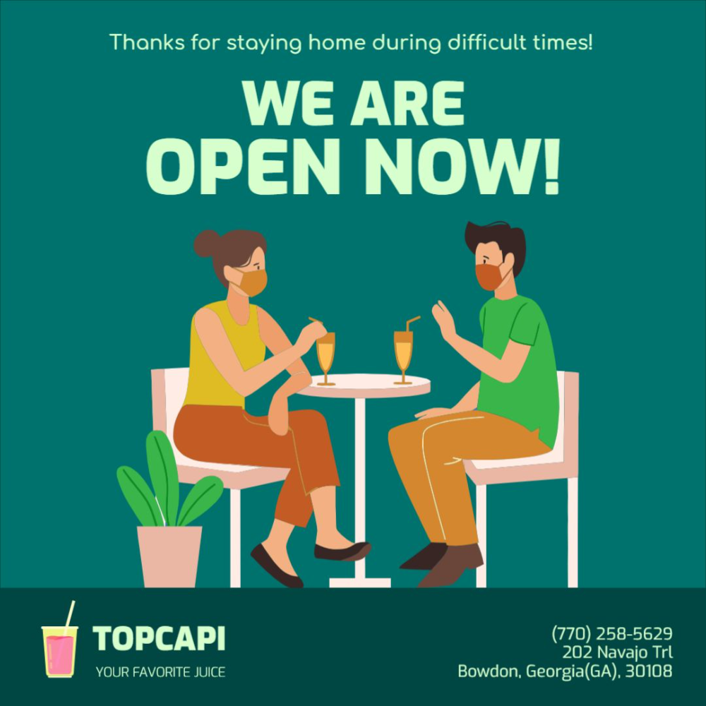 Is Your Restaurant Or Bar Now Open Use This Illustrated Banner Template And Remind People That They Can N Instagram Template Instagram Post Template Templates