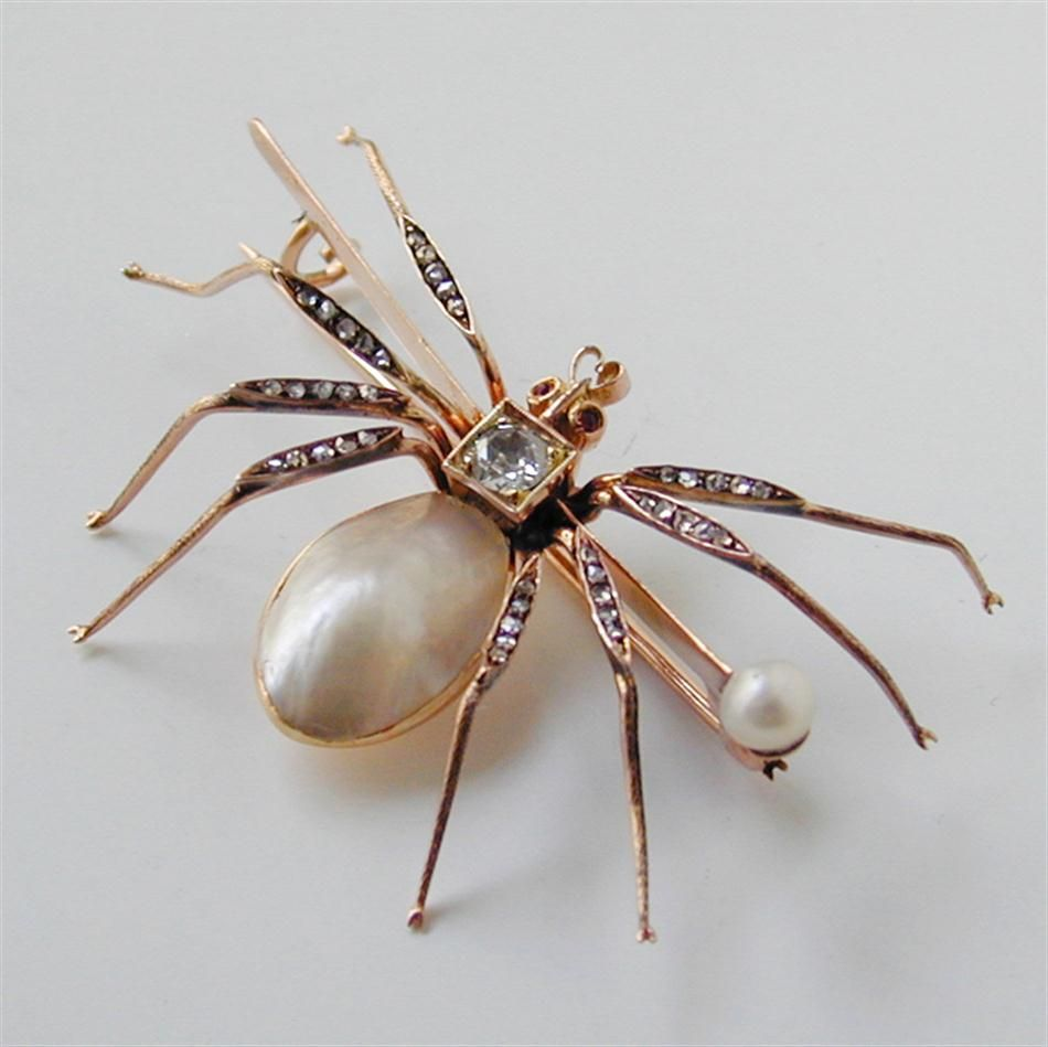 A LATE VICTORIAN PEARL AND DIAMOND SPIDER BROOCH - Bentley & Skinner