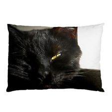 Black Cat Eye Face Dos Caras Cama Funda De Almohada
