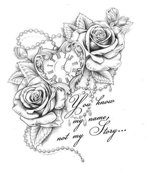 Roses heart clock saying