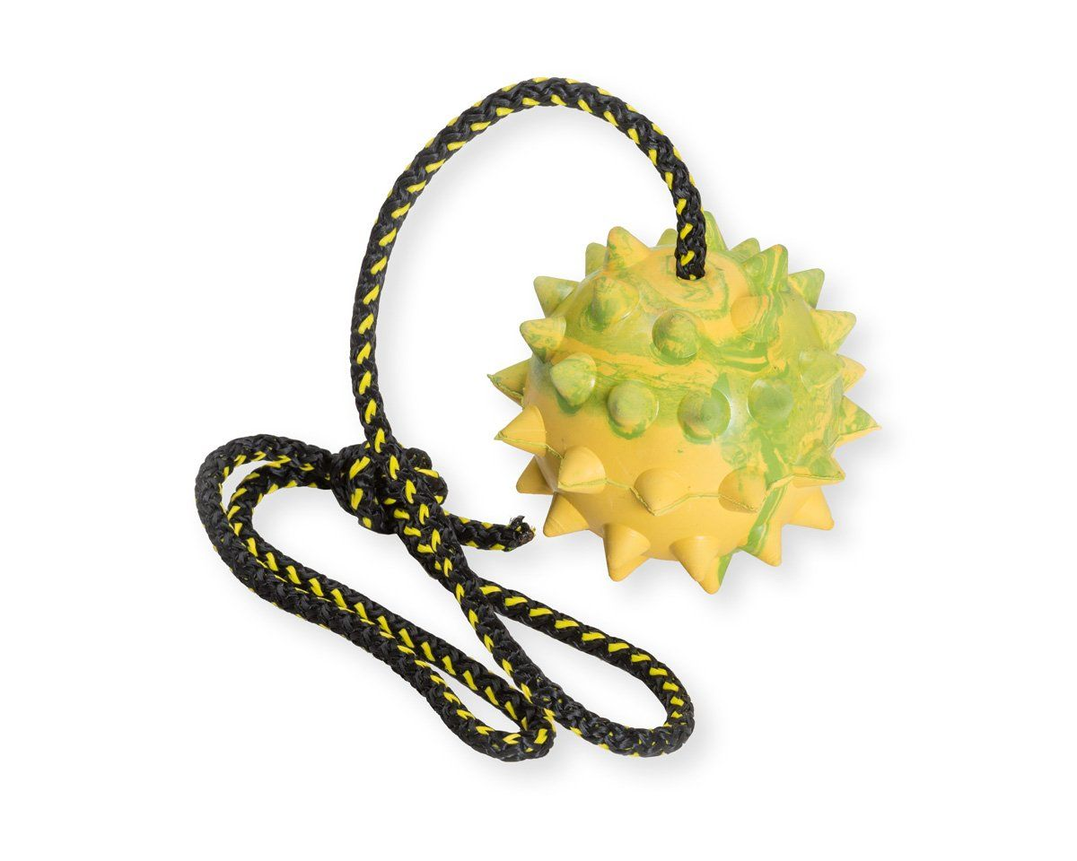 Dog Rubber Spike Ball On Rope Toy Training Reward Fetch Want