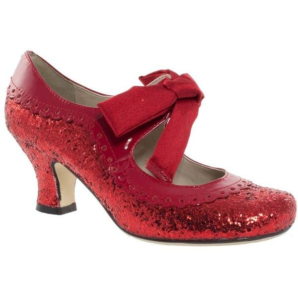 Red Hush Puppies Glitter Ribbon Tie Court Shoes ($79