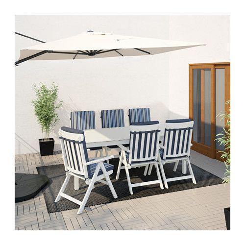 Scaune Living Ikea.Angso Masă 6 Scaune Mobile Exterior Angso Vopsit Alb Tasinge Abs