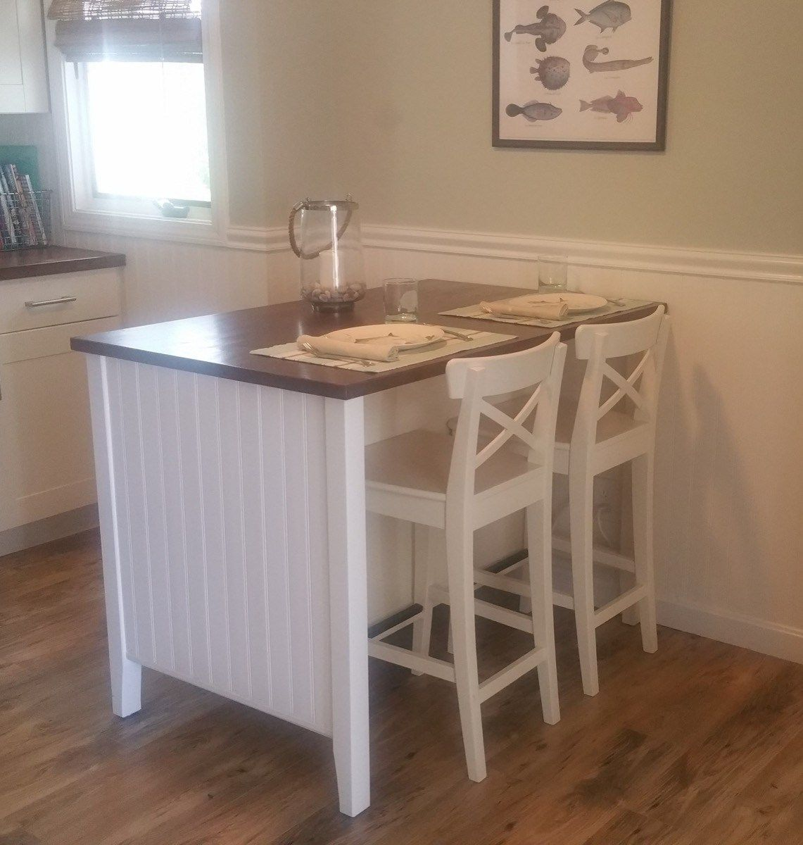 Coastal Makeover for STENSTORP kitchen island | Pinterest