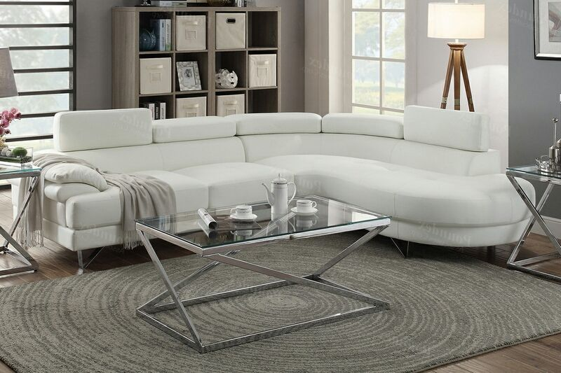 Poundex F6985 2 Pc Orren Ellis Longworth White Faux Leather Sectional Sofa Set Rounded Chaise Sectional Sofa White Sectional Sofa Leather Sectional