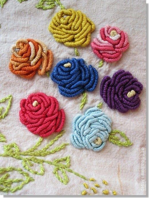 Bullion Stitch Rose : bullion, stitch, Bullion, Stitch, Roses, Brazilian, Embroidery,, Embroidery, Stitches,