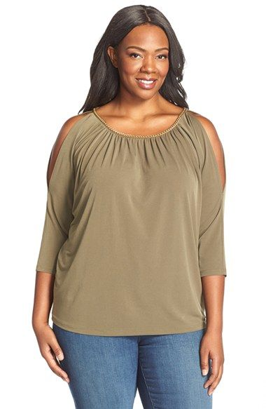 477e4f2628c MICHAEL Michael Kors Chain Neck Cold Shoulder Top (Plus Size)
