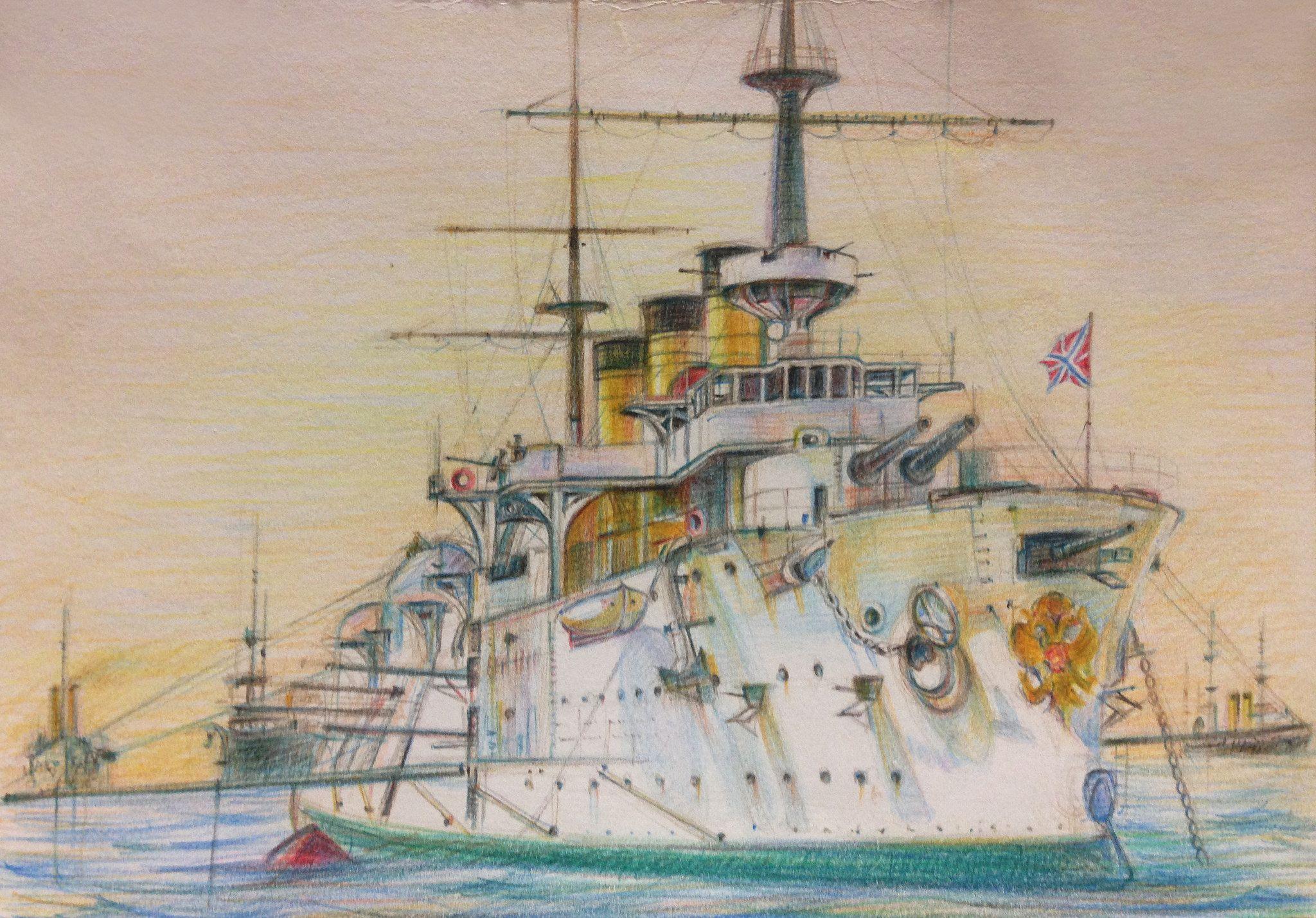 Imperial Russian Navy Battleship ' Pobeda' Военный, Корабль