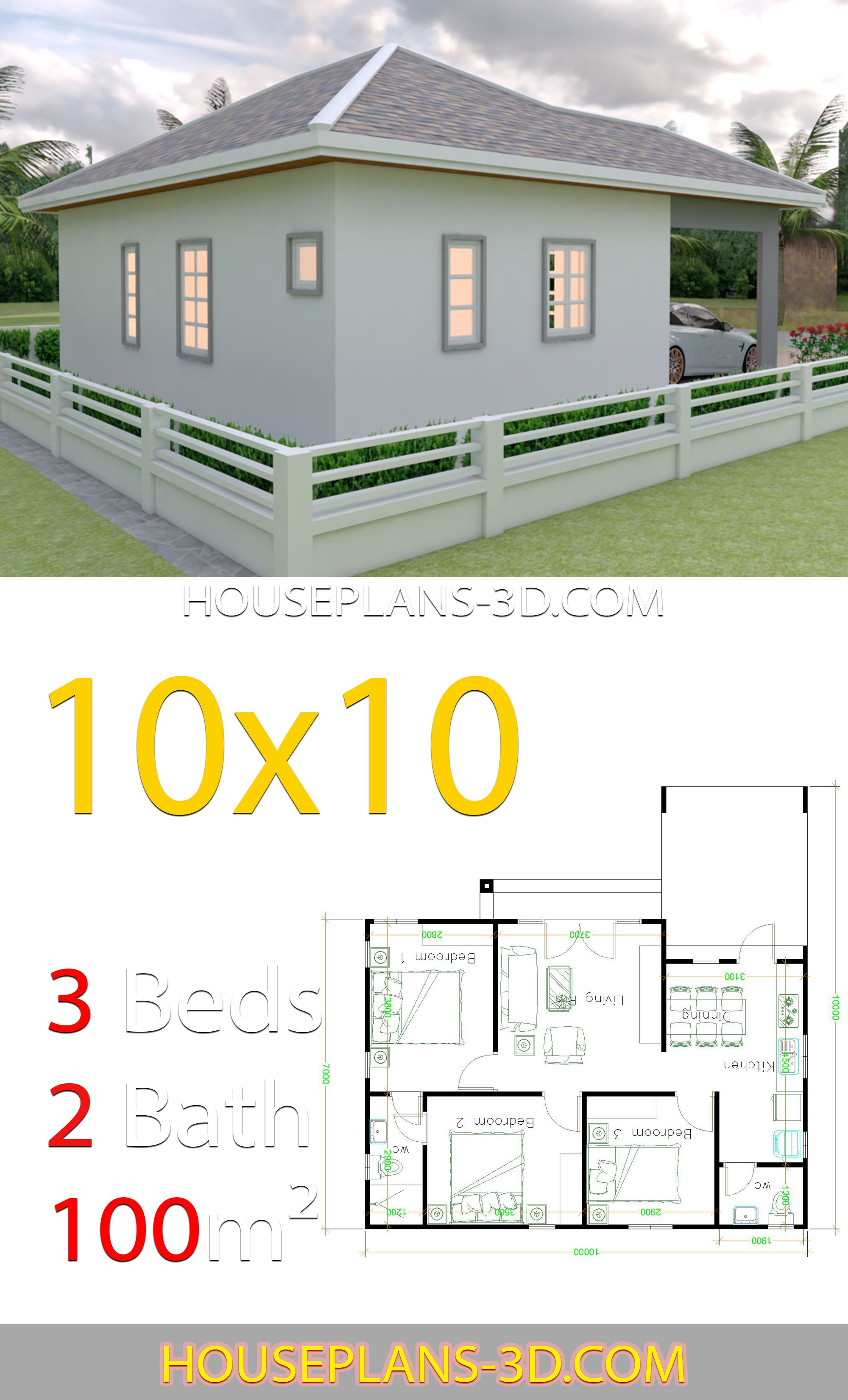 House Design 10x10 With 3 Bedrooms Hip Roof House Plans Small House Design Plans House Layout Plans
