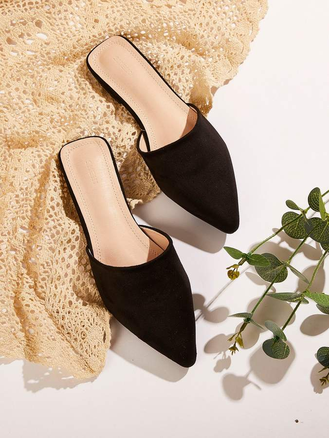Shein Suede Point Toe Mules in 2019   Heeled mules, Suede