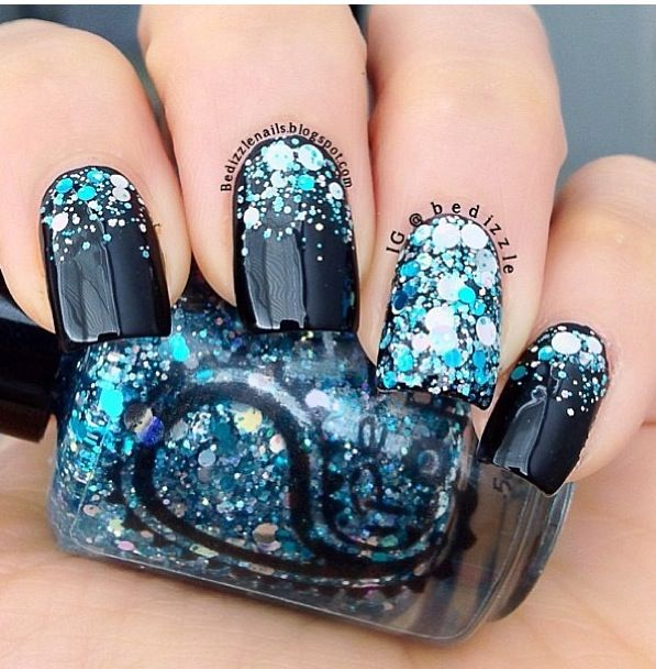 Gorgeous Dark Blue Nails With Bright Blue And Silver Glitters Nails Creative Nails Nail Designs
