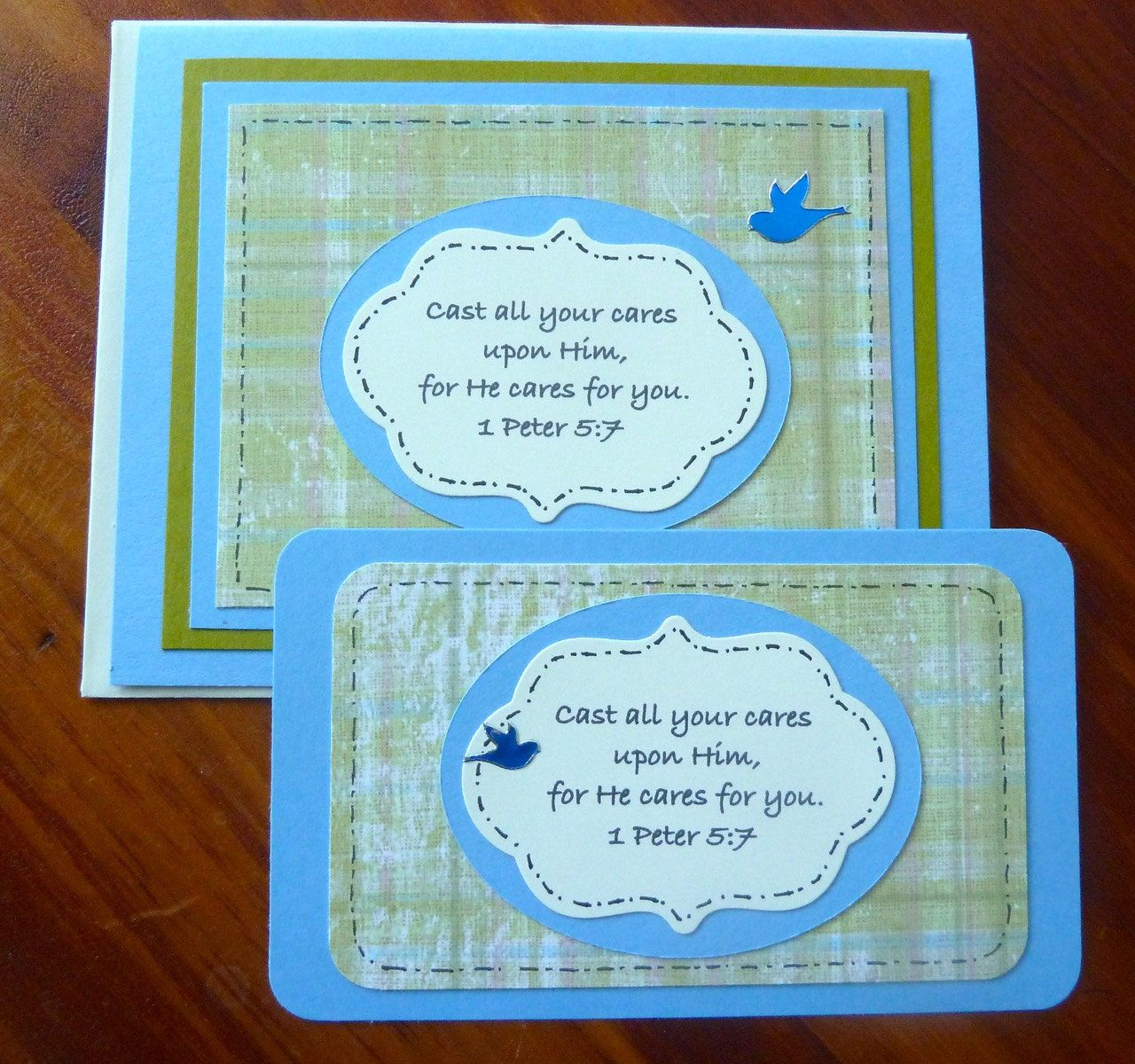 Cast All Your Cares Upon Him Christian Greeting Card With Matching