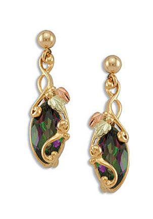 Mystic Fire Topaz Earrings In Black Hills Gold
