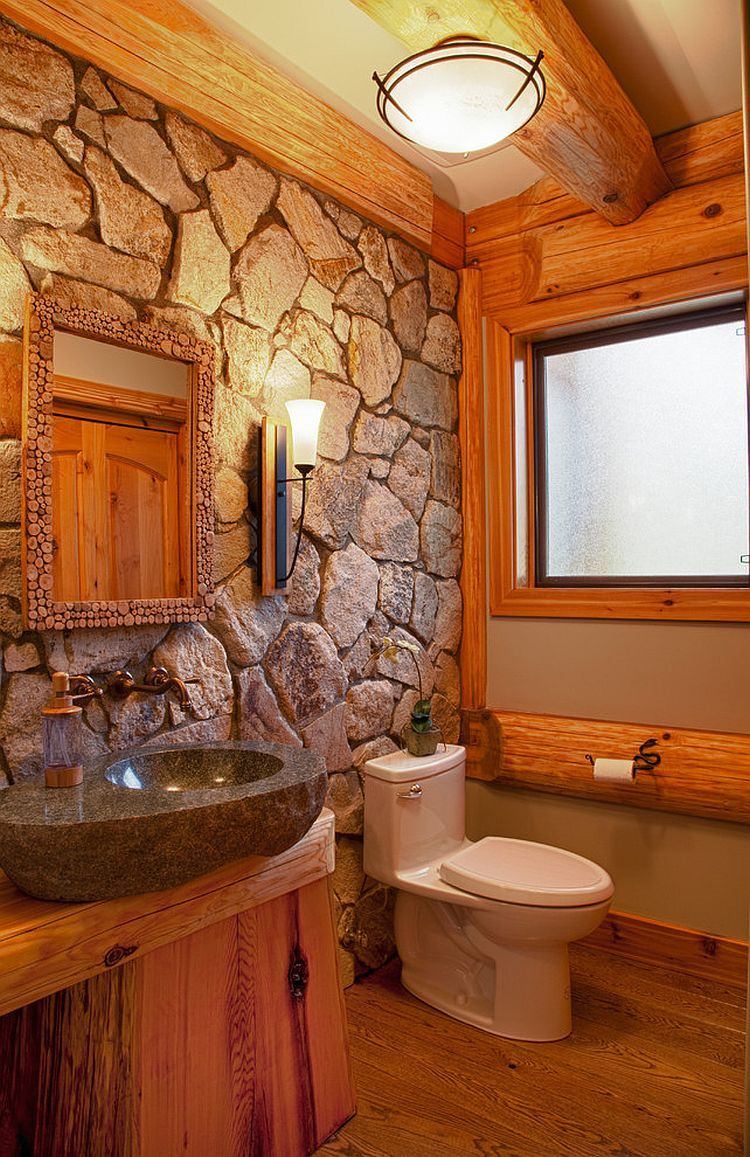 30 Exquisite And Inspired Bathrooms With Stone Walls Log Cabin Bathrooms Rustic Bathroom Lighting Rustic Bathrooms